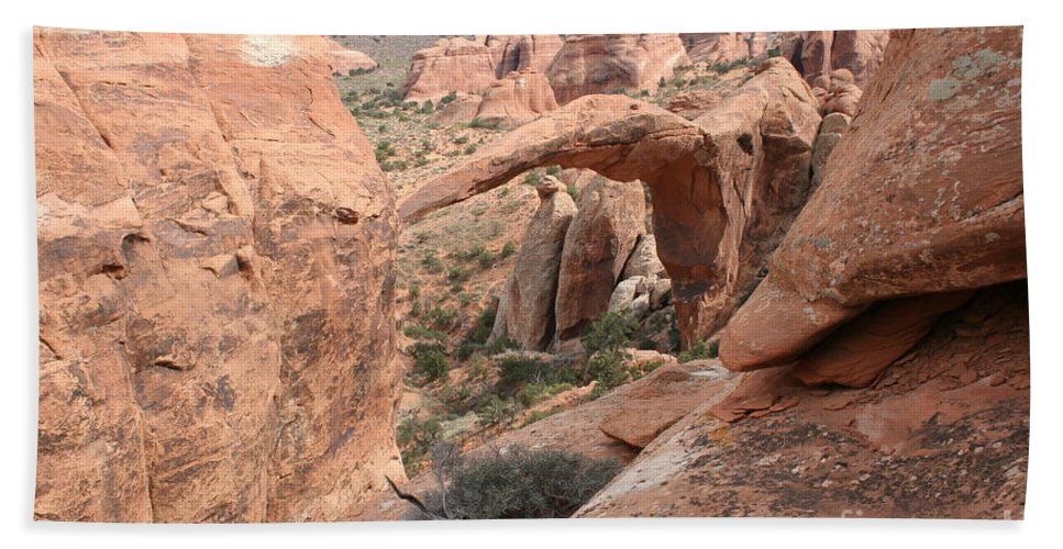 Landscape Arch Hand Towel featuring the photograph Landscape Arch From Above by Christiane Schulze Art And Photography