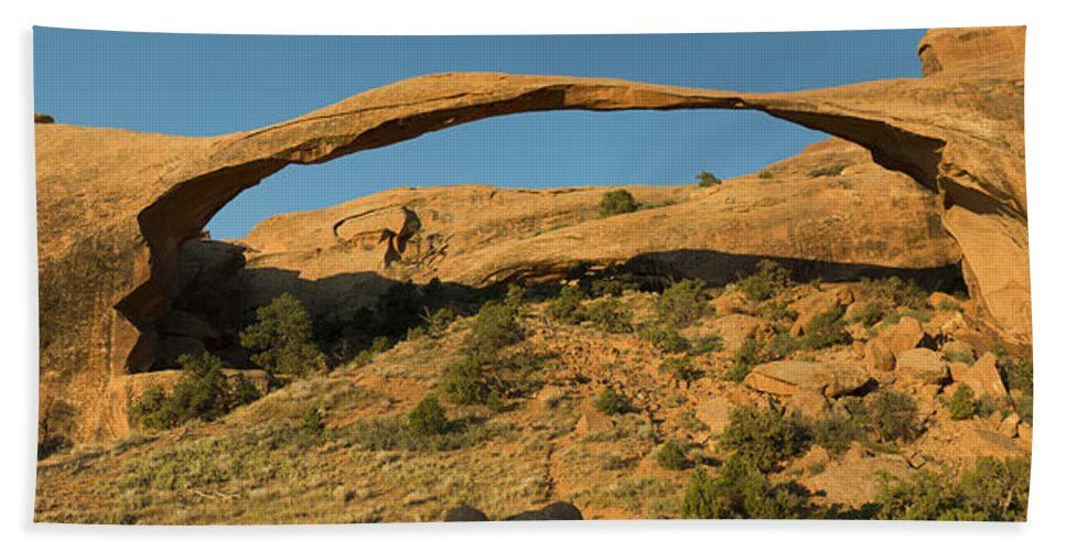 Photography Bath Sheet featuring the digital art Landscape Arch by Neal Hebert