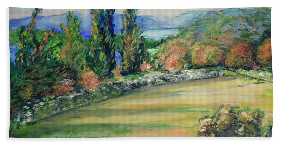 Oil Painting On Canvas Bath Sheet featuring the painting Landscape From Kavran by Raija Merila