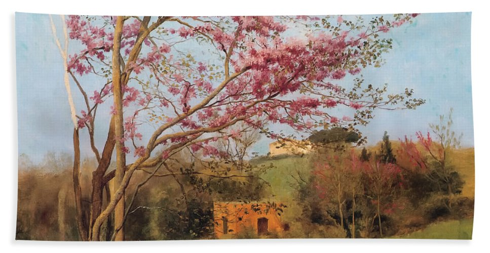 Spring Hand Towel featuring the painting Landscape by Mountain Dreams