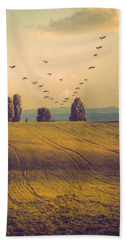 Field Bath Sheet featuring the photograph Landscape In France by Elisabeth De vries