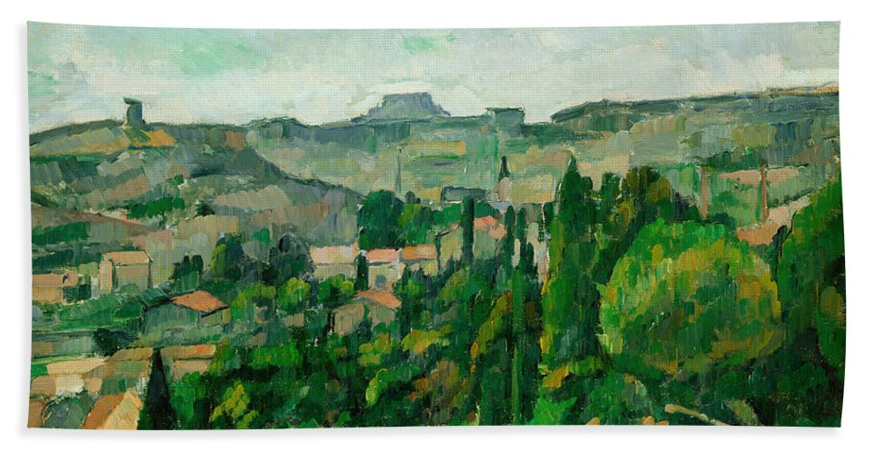 Post-impressionist Bath Sheet featuring the painting Landscape In The Ile-de-france by Paul Cezanne