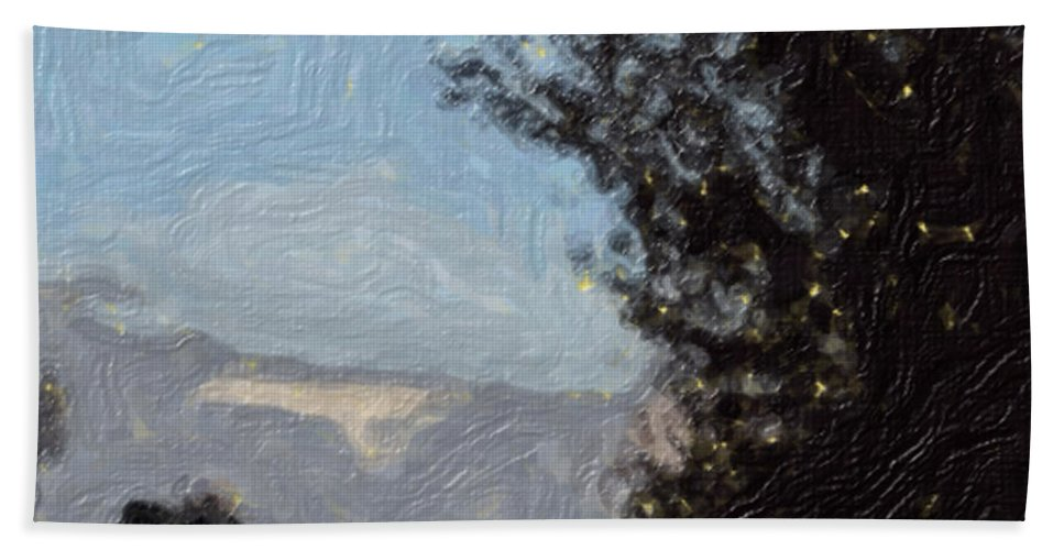 Landscape Bath Sheet featuring the painting Landscape of Fall by Sergey Bezhinets