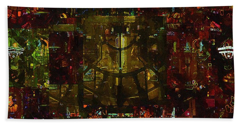 Abstract Bath Sheet featuring the painting Landscape Of Hell by RC DeWinter