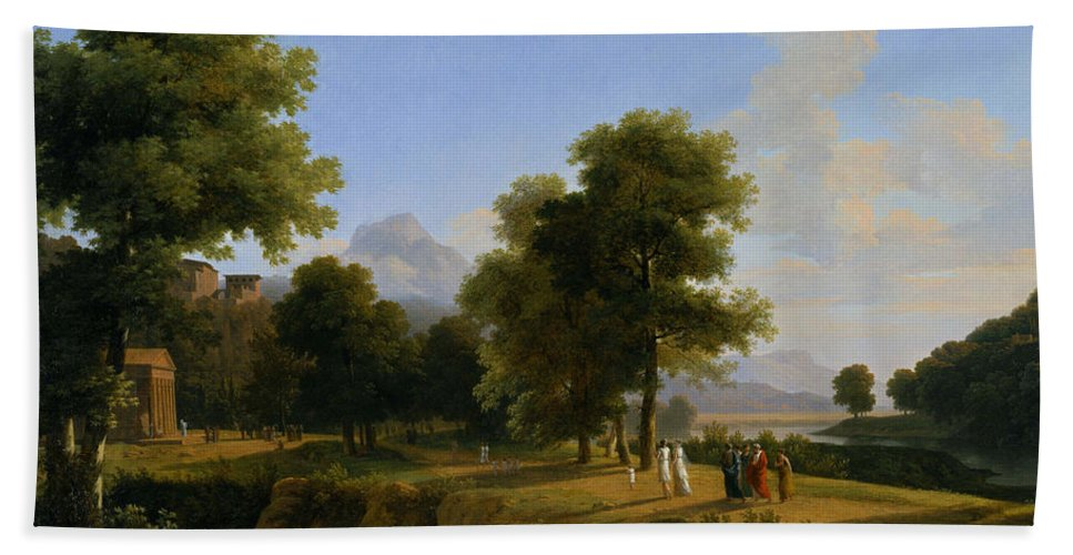 Jean-victor Bertin Bath Sheet featuring the painting Landscape. Site Of Greece by Jean-Victor Bertin
