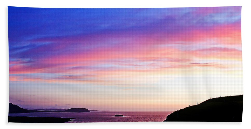 Landscape Bath Sheet featuring the painting Landscape - Sunset by Alex Art and Photo
