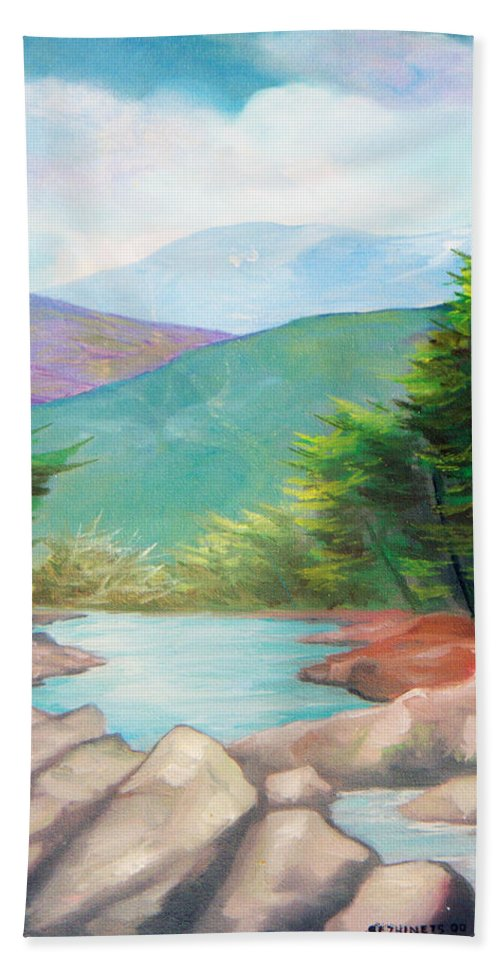 Bayou Bath Sheet featuring the painting Landscape with a creek by Sergey Bezhinets