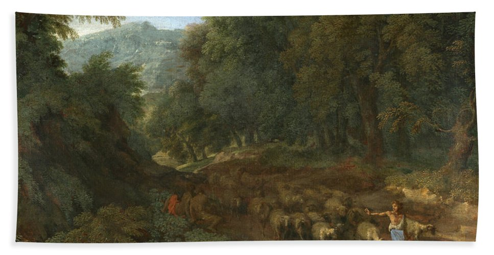 Gaspard Dughet Hand Towel featuring the painting Landscape With A Shepherd And His Flock by Gaspard Dughet