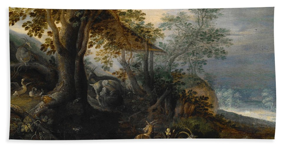 Roelant Savery Hand Towel featuring the painting Landscape With Animals by Roelant Savery