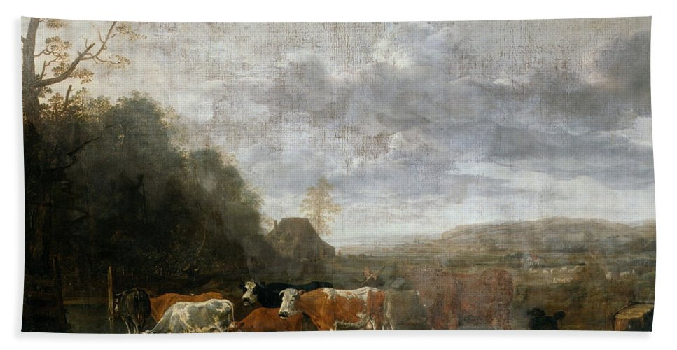 Anthonie Van Borssom Bath Sheet featuring the painting Landscape With Cattle by Anthonie van Borssom