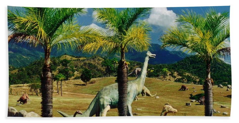 Landscape With Dinosaurs Hand Towel featuring the photograph Landscape With Dinosaurs by John Malone