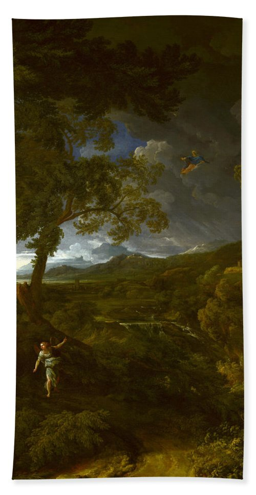 Gaspard Dughet Hand Towel featuring the painting Landscape With Elijah And The Angel by Gaspard Dughet