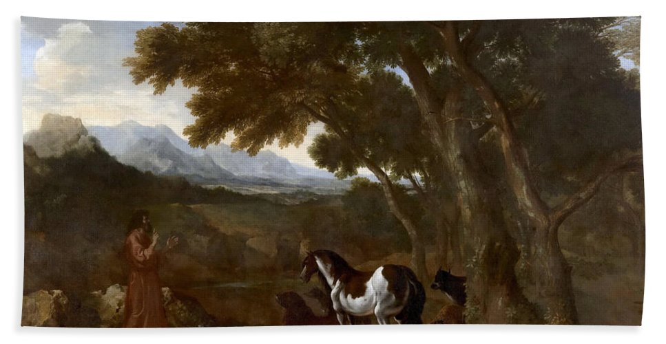 Gaspard Dughet Hand Towel featuring the painting Landscape With Hermit Preaching To Animals by Gaspard Dughet