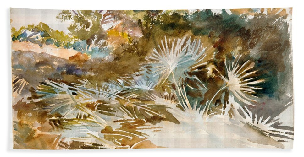 John Singer Sargent Bath Sheet featuring the painting Landscape With Palmettos by John Singer Sargent