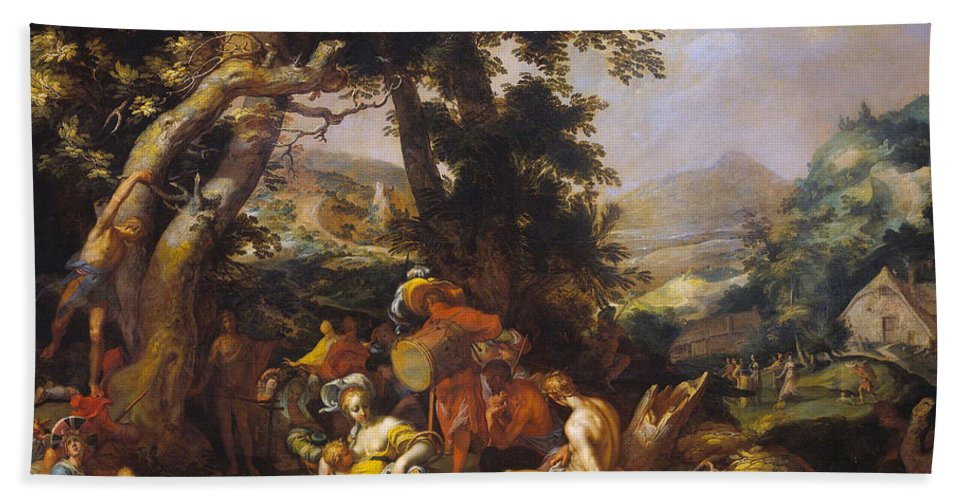 Abraham Bloemaert Hand Towel featuring the painting Landscape With The Ministry Of John The Baptist by Abraham Bloemaert
