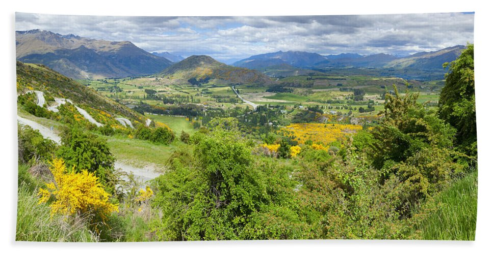 Mountains Hand Towel featuring the photograph Landscape With Winding Road by Alexey Stiop