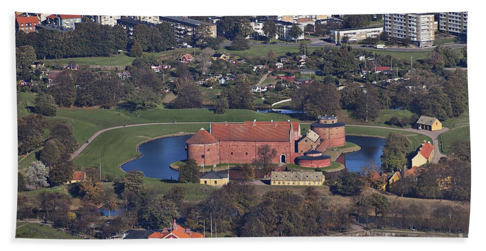 Town Hand Towel featuring the photograph Landskrona Citadel Photographed From The Air by Sophie McAulay