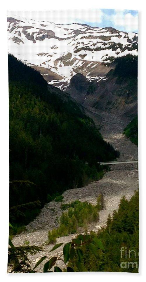 Mount Rainier Bath Sheet featuring the photograph Landslides At Mount Rainier by LeLa Becker