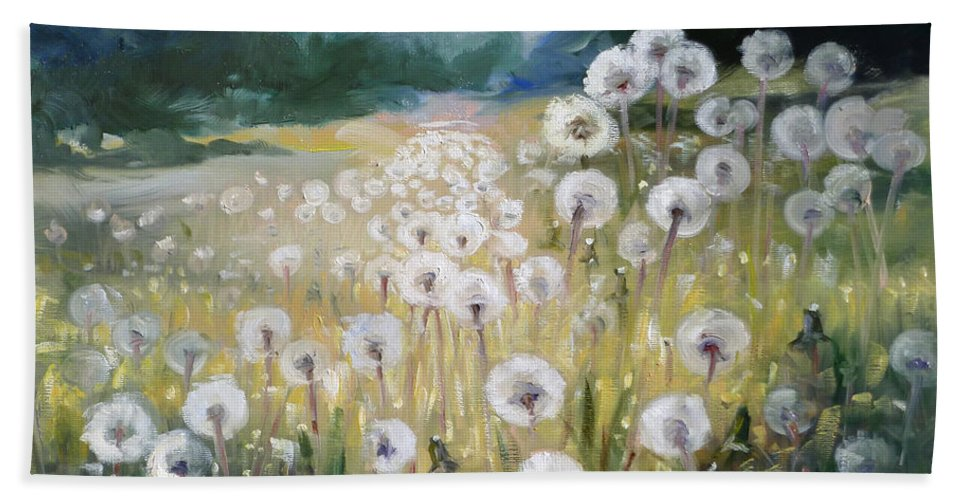 Dandelion Hand Towel featuring the painting Lanscape With Blow-balls by Irek Szelag
