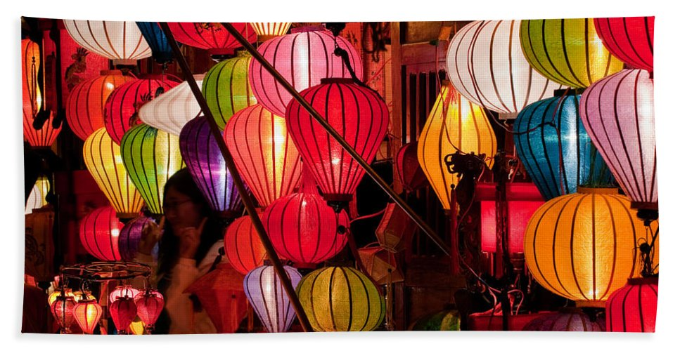 Vietnam Hand Towel featuring the photograph Lantern Stall 03 by Rick Piper Photography