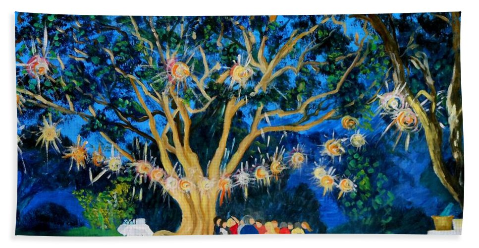 Lantern-light Bath Sheet featuring the painting Lantern Tree by Caroline Street
