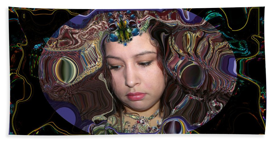 Portrait Bath Sheet featuring the digital art Lapislazuli Beauty by Otto Rapp