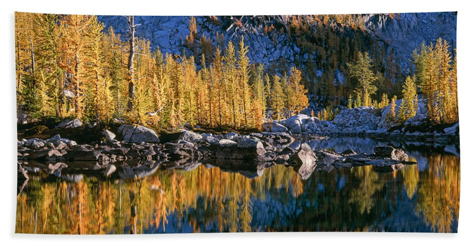 Lake Hand Towel featuring the photograph Larch Tree Reflection In Leprechaeun Lake by Tracy Knauer