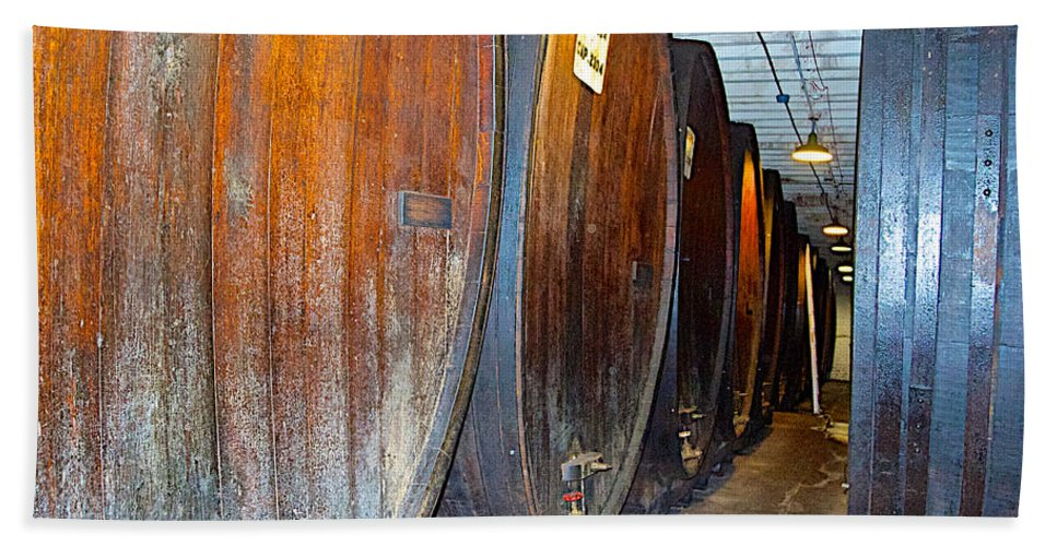 Large Barrels At Korbel Champagne Cellars In Russian River Valley Hand Towel featuring the photograph Large Barrels At Korbel Winery In Russian River Valley-ca by Ruth Hager