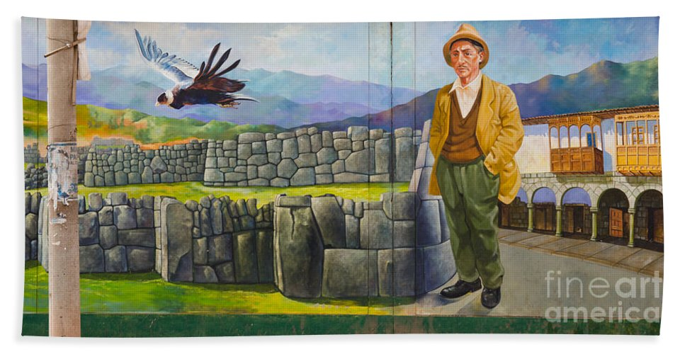 Mural Bath Sheet featuring the photograph Large Mural In Cusco Peru Part 11 by Ralf Broskvar