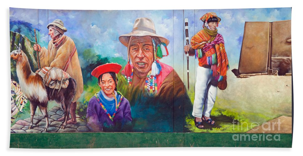 Mural Hand Towel featuring the photograph Large Mural In Cusco Peru Part 6 by Ralf Broskvar