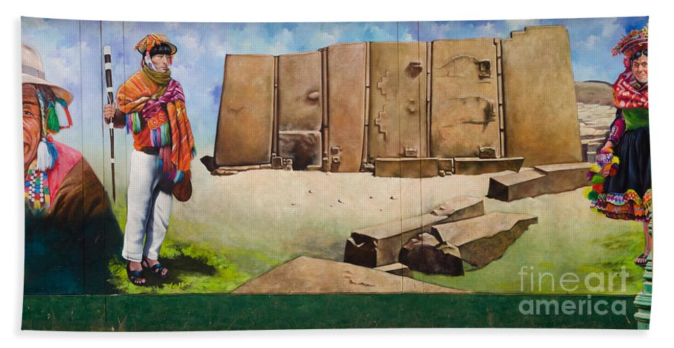 Mural Hand Towel featuring the photograph Large Mural In Cusco Peru Part 7 by Ralf Broskvar