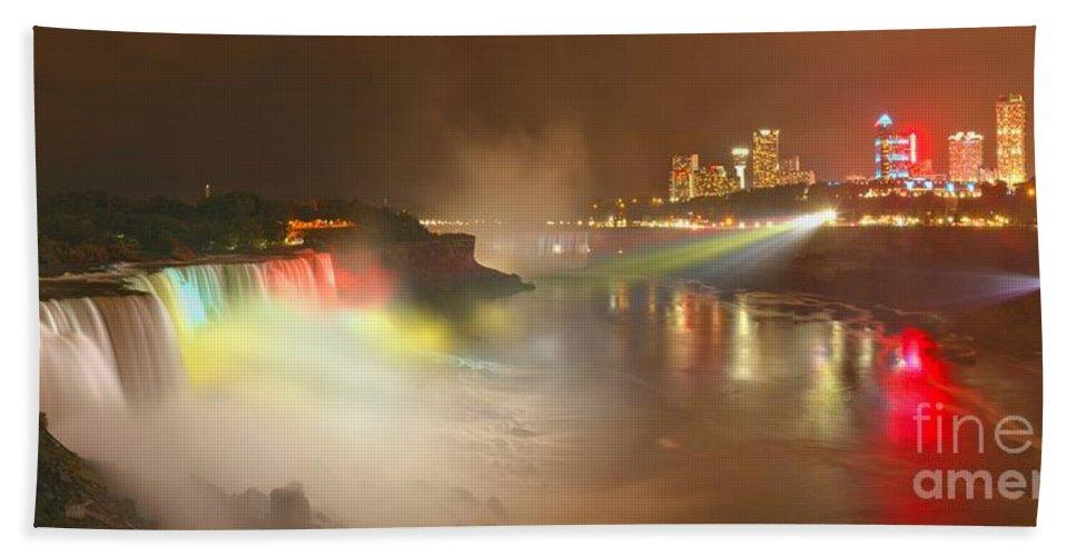 Niagara Falls Bath Towel featuring the photograph Large Niagara Nighttime Panorama by Adam Jewell