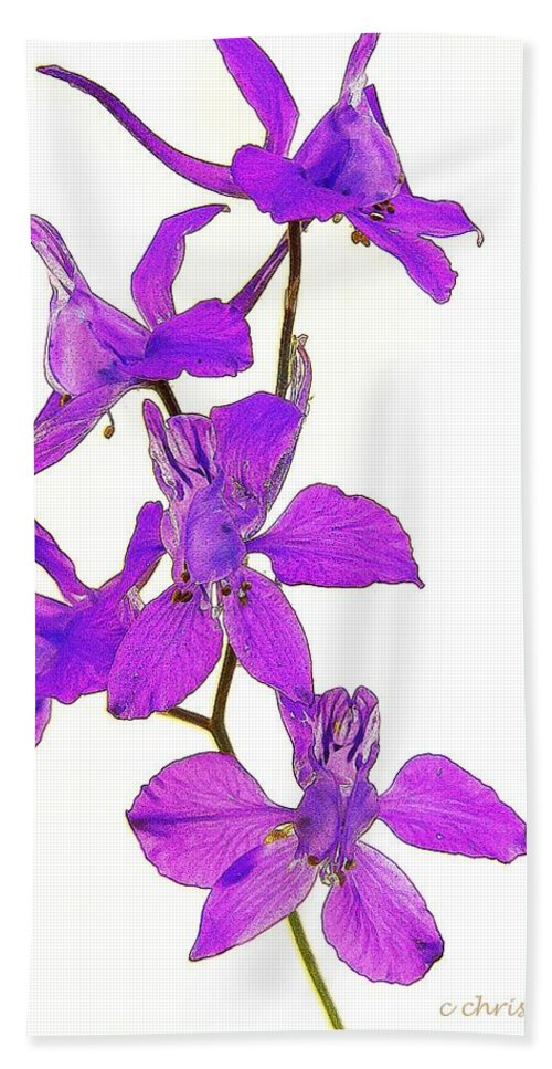 Larkspur Hand Towel featuring the photograph Larkspur by Chris Berry