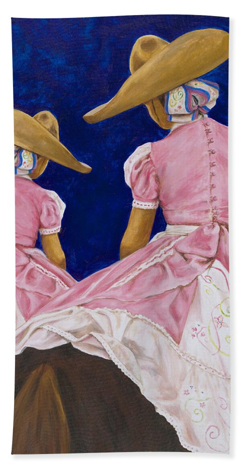 Mexican Rodeo Bath Sheet featuring the painting Las Charras Rosadas by Pat Haley