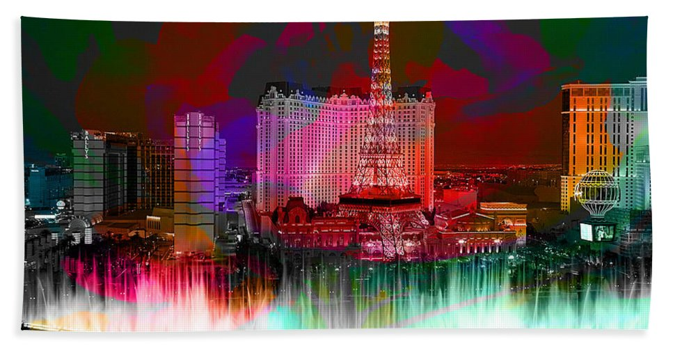 Las Vegas Bellagio Painting Hand Towel featuring the mixed media Las Vegas Bellagio Painting by Marvin Blaine
