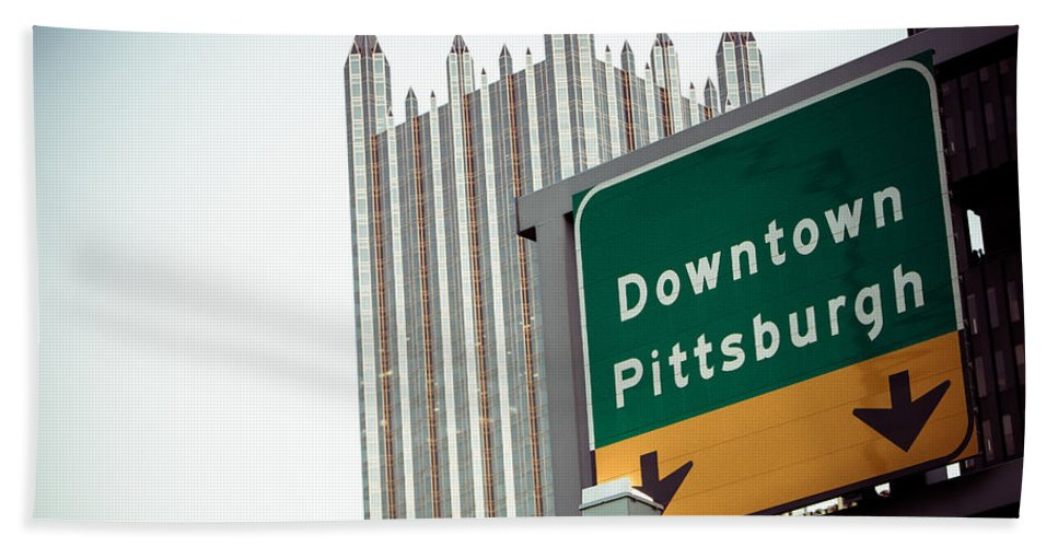 Pittsburgh Pa. Pennsylvania Downtown Ppg Skyline Taaffe Urban Green Yellow Steelers Pirates Bath Sheet featuring the photograph Last Exit Pittsburgh by Jimmy Taaffe