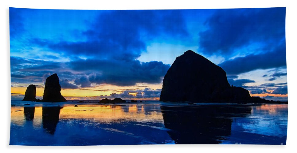Cannon Beach Bath Sheet featuring the photograph Last Light - Cannon Beach Sunset With Reflection In Oregon The Coast by Jamie Pham