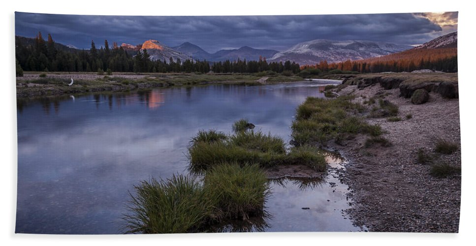River Bath Sheet featuring the photograph Last Light On Lembert Dome by Cat Connor