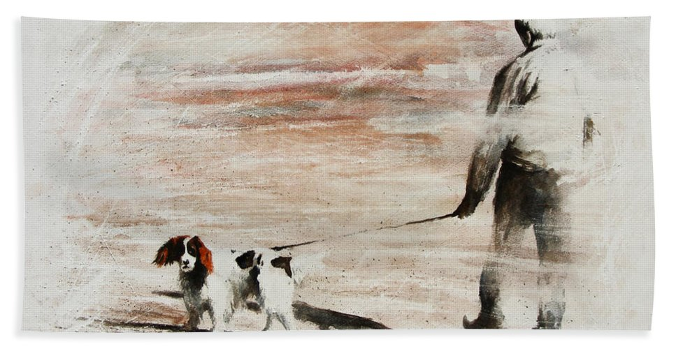 Dog Hand Towel featuring the painting Last Walk by Rachel Christine Nowicki