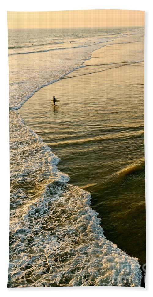 Surfer Bath Sheet featuring the photograph Last Wave - Lone Surfer Waiting For The Perfect Wave In Huntington Beach by Jamie Pham
