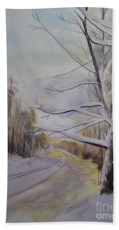 Winter Bath Sheet featuring the painting Last Winter Sunset Snow Scene by Martin Howard