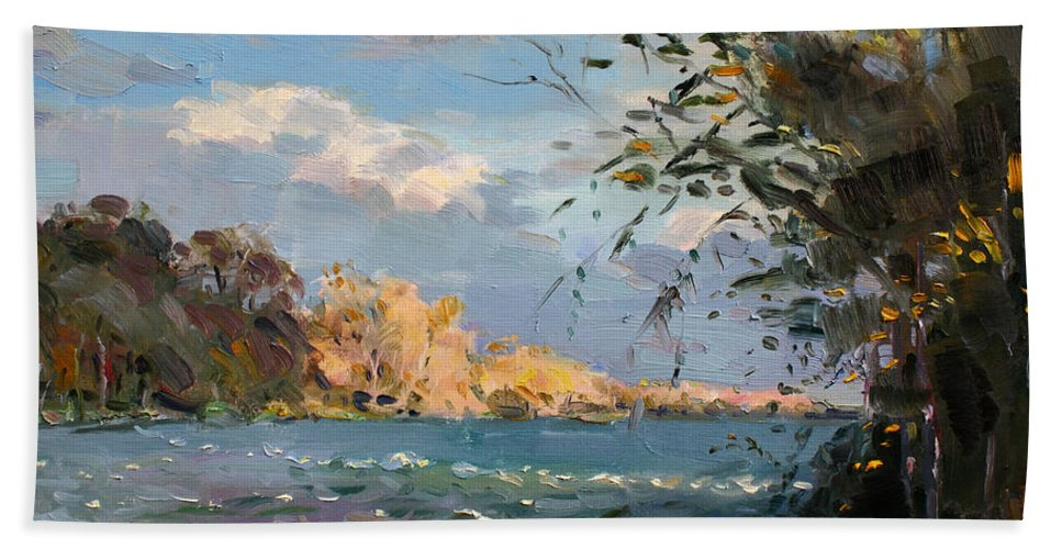 Goat Island Bath Sheet featuring the painting Late Afternoon On Goat Island by Ylli Haruni