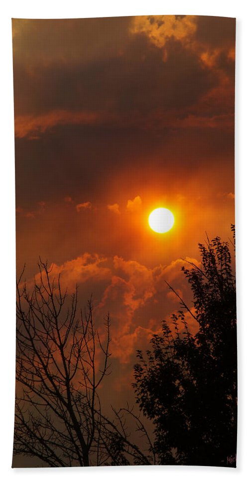 Smoke Hand Towel featuring the photograph Late Afternoon Sun Through Smoke And Clouds by Mick Anderson