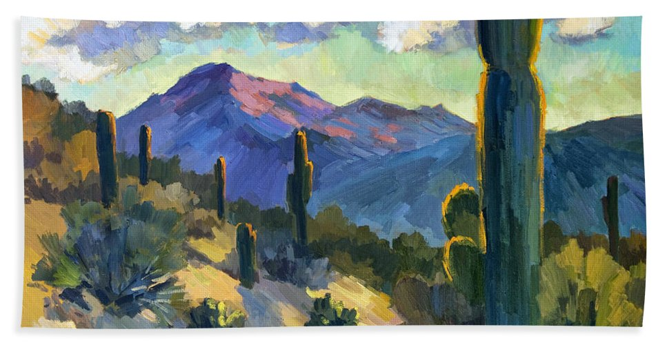 Late Afternoon Bath Sheet featuring the painting Late Afternoon Tucson by Diane McClary