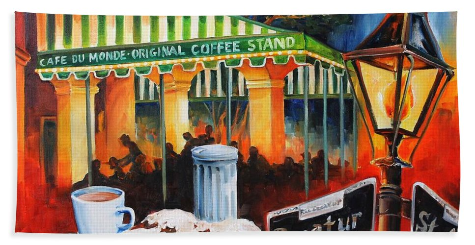 New Orleans Bath Towel featuring the painting Late At Cafe Du Monde by Diane Millsap