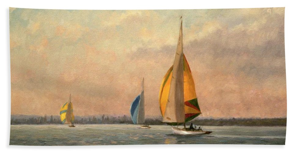 Gull; Boat; Sailing; Pier; Port Bath Towel featuring the painting Late Finish Featuring Dragons On The Medway by Vic Trevett