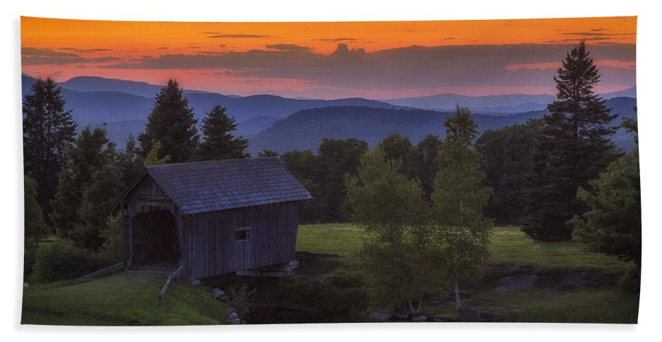 Covered Bridge Bath Sheet featuring the photograph Late Summer Sunset by John Vose