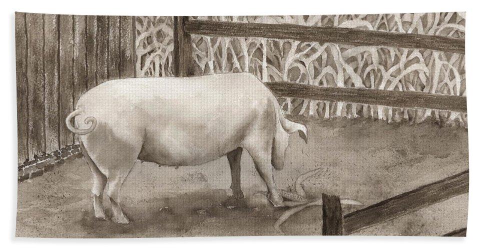 Pig Bath Sheet featuring the painting Latin by Rhonda Leonard