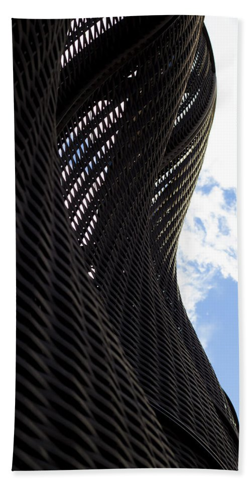 Lattice Hand Towel featuring the photograph Lattice With Blue Sky And Clouds by Claire Doherty