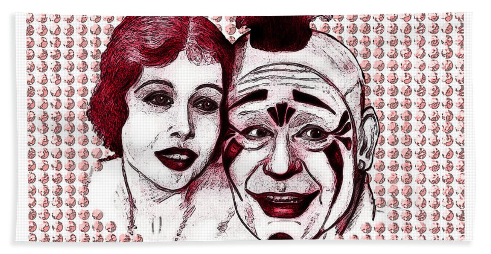 Silent Films Hand Towel featuring the digital art Laugh Clown Laugh by Christopher Korte